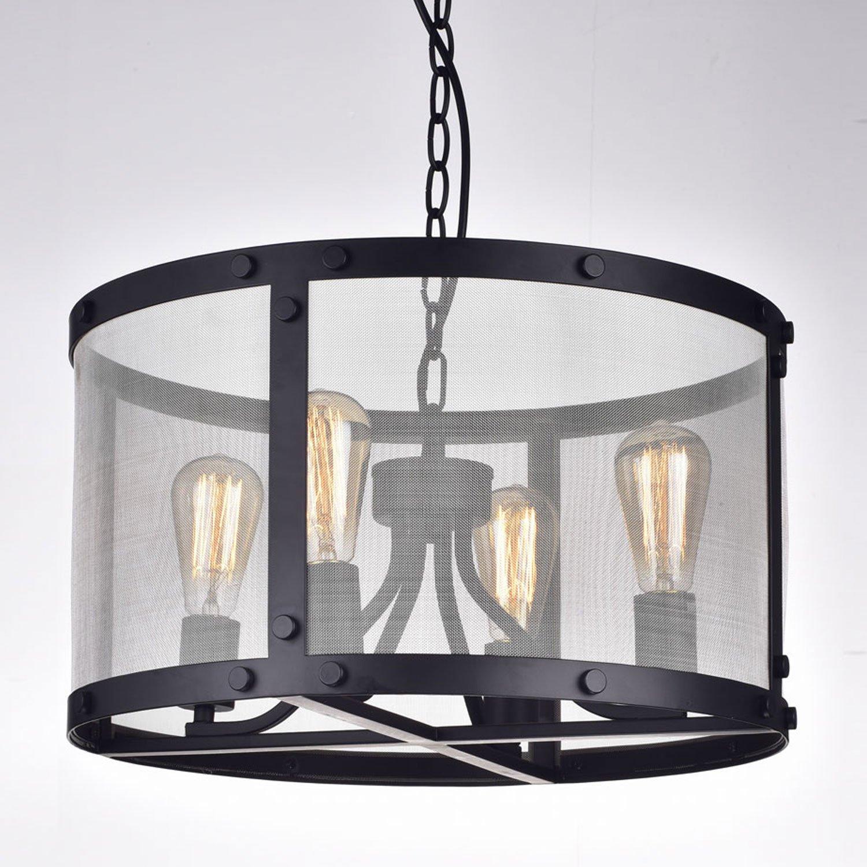 CLAXY Ecopower Vintage Mesh Chandelier 4 Lights Pendant Lighting ...