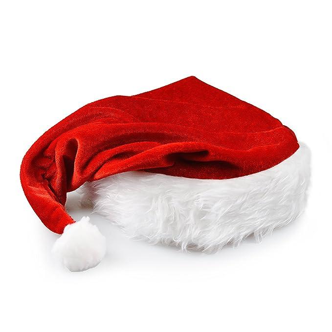 Ganzoo Nikolaus-Mütze mit Pelzrand, in rot – weiß, Weihnachtsmütze ...