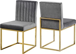 Meridian Furniture Giselle Collection Modern | Contemporary Velvet Upholstered Dining Chair with Durable Metal Base, Set of 2, 18