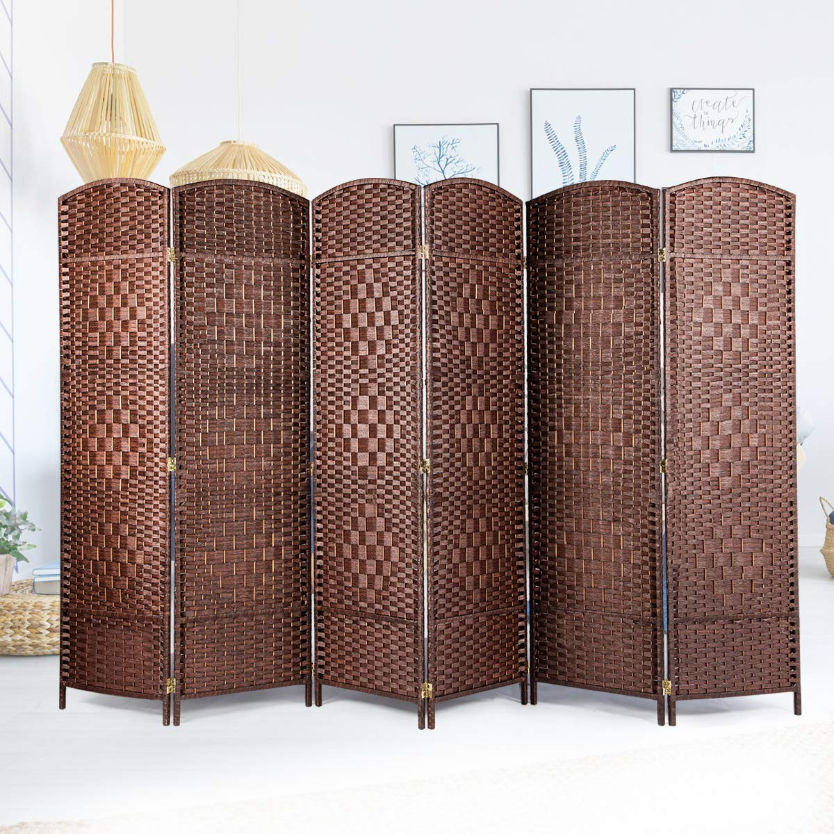 U-MAX Room Divider,6 FT Tall Weave Fiber Room Divider,Double Hinged,6 Panel Room Divider & Folding Privacy Screens, Freestanding Brown Room Dividers by U-MAX