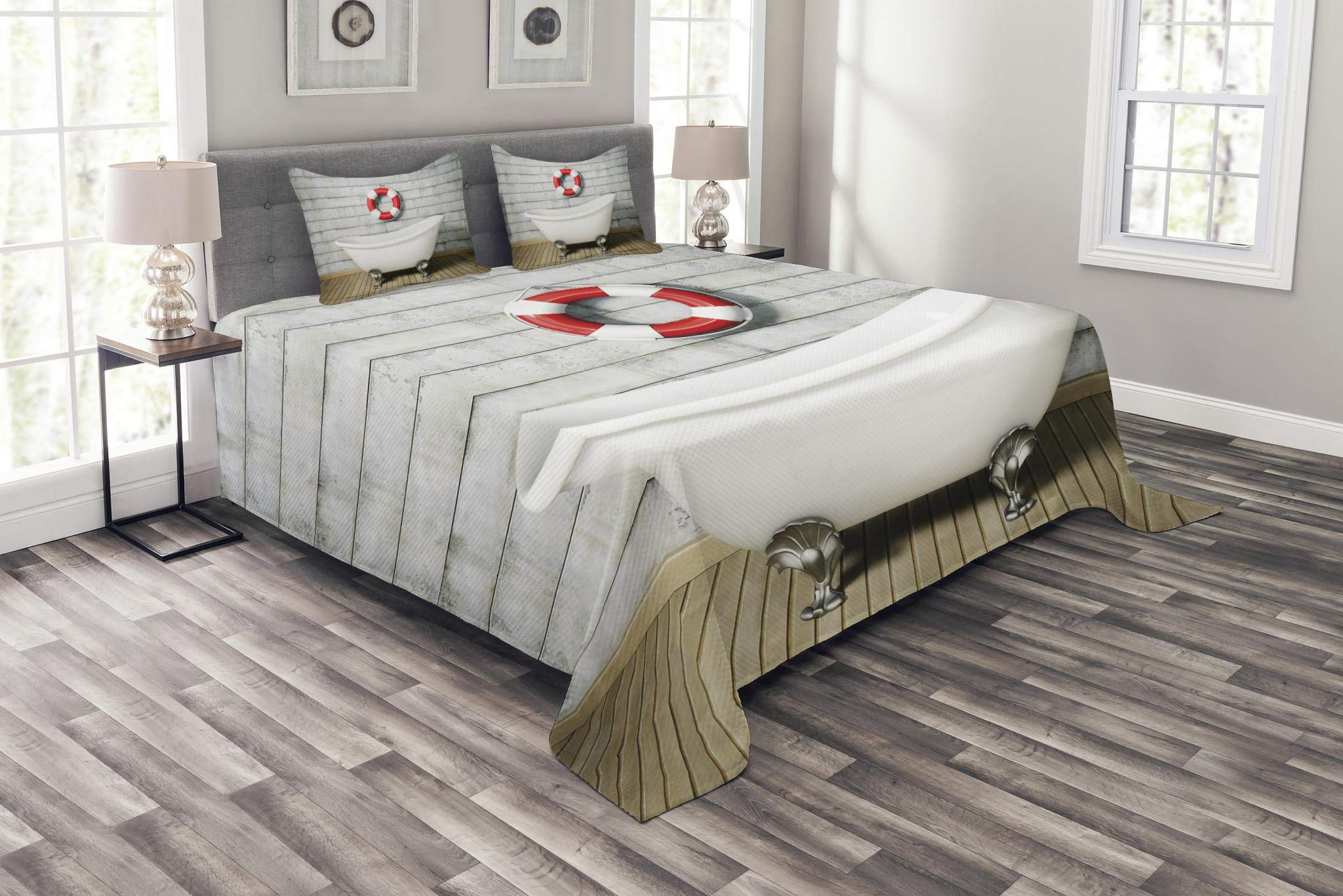 Ambesonne Vintage Bedspread Set King Size, Bathtub in a Room Grunge Wall Classical Floral Foot Resting Sailor Nautical, Decorative Quilted 3 Piece Coverlet Set with 2 Pillow Shams, White Red Gray