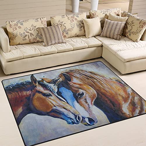 ALAZA Oil Painting Horse Artwork Area Rug Rug