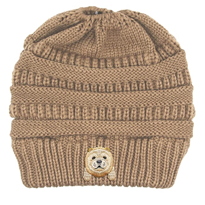 5a00c92431c Lhotse Chow Chow Embroidered Puppy Dog Series Beanie - Stretch ...