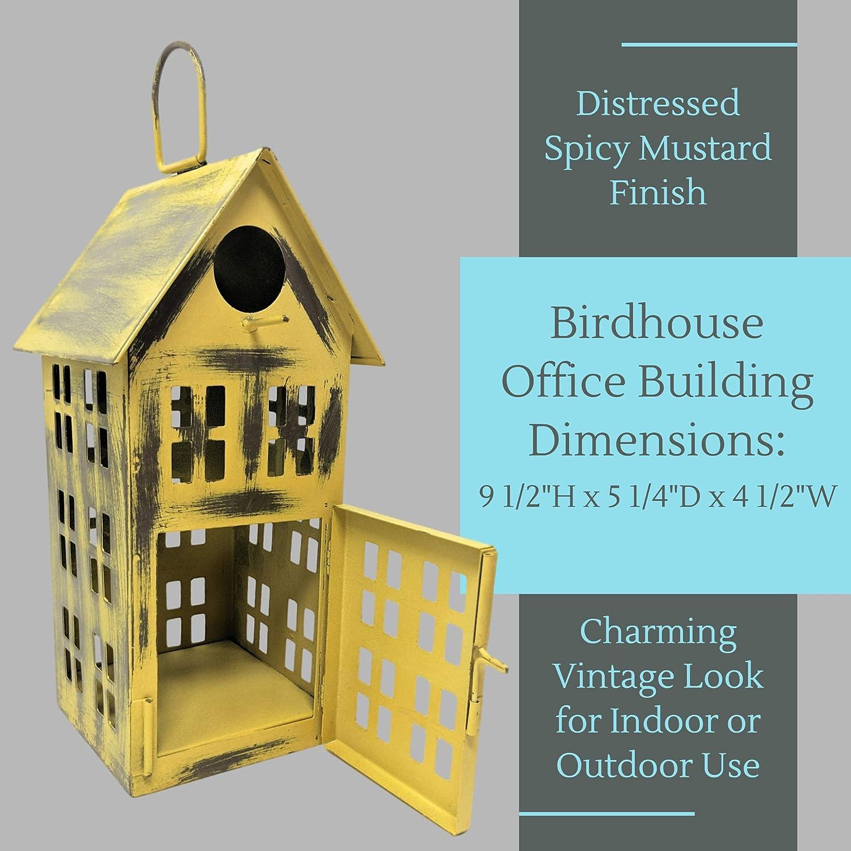 Decorative Bird House for Indoor or Outdoor Hanging White Schoolhouse Farmhouse Country Decor Birdhouse Metal Bird House Decor