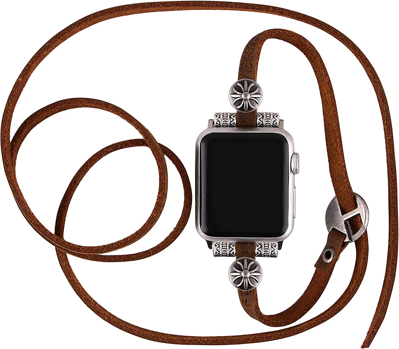 Vikoros Punk Style Fashion Bands for Apple Watch 38mm 40mm 42mm 44mm Iwatch SE & Series 6 5 4 3 2, Unisex Retro Leather Multi-Wrap Bracelet Dressy Jewelry Wrist Strap for Smart Watch Women Men