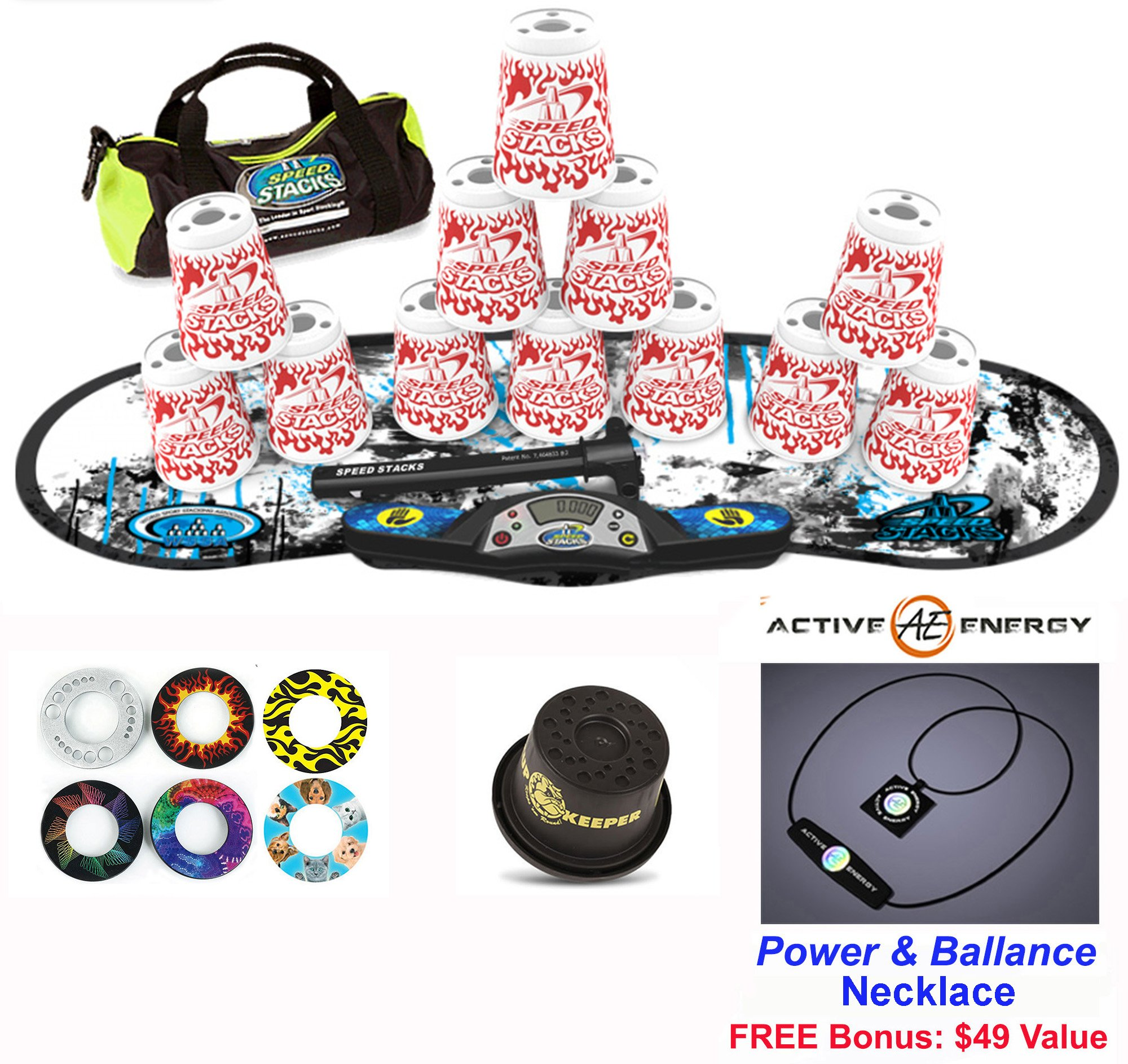 Speed Stacks Combo Set ''The Works'': 12 WHITE FLAME 4'' Cups, REBEL MUDD Gen 3 Mat, G4 Pro Timer, Cup Keeper, Stem, Gear Bag + Active Energy Necklace
