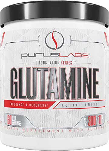 Purus Labs Foundation Series Glutamine Pure Fermented Glutamine for Recovery, Hydration, Volumization, Health 60 Servings Unflavored