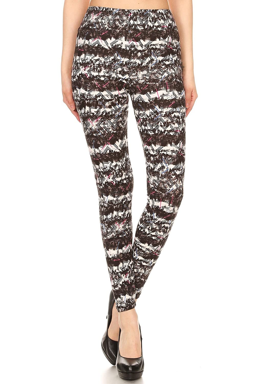 ff5f4b55d37970 Black Pink Blue Abstract Chevron pattern printed leggings for regular.  Comfortable elastic waist band. Length: 35 inches, Inseam: 26.5 inches.