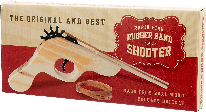 Rétro Bois bande de caoutchouc pistolet FUN SHOOTER Kids Childs toys cadeaux Gadgets