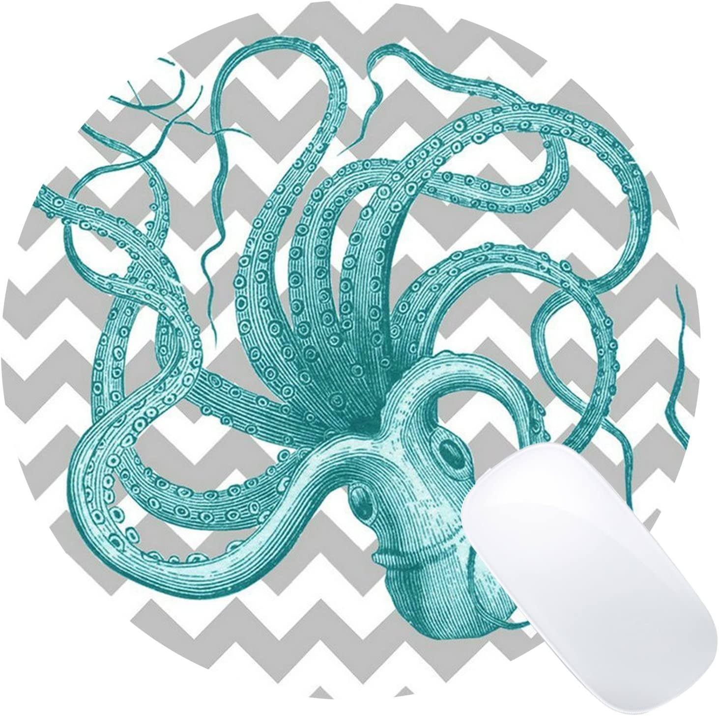 Wknoon Abstract Turquoise Octopus Art Round Mouse Pad Grey Chevron Zigzag Pattern Mat