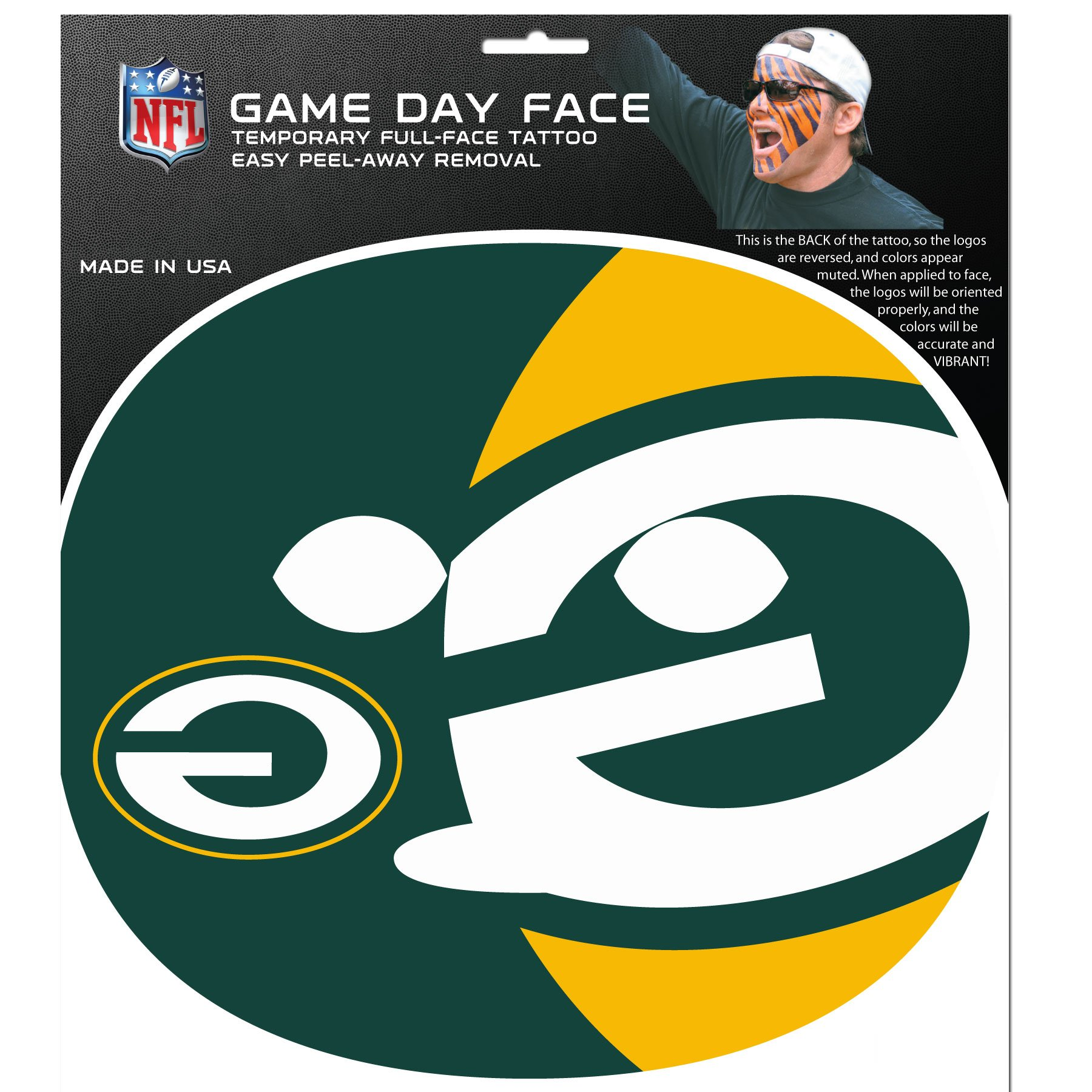 NFL Green Bay Packers Game Day Face Decal