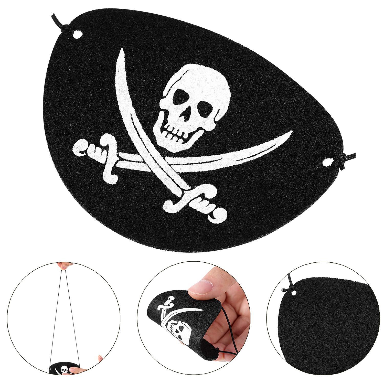 Blulu 24 Packung Schwarz Filz Piraten Augen Klappen EIN Auge Schädel ...
