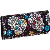 Pretty Sugar Skulls & Flower Cotton Tri Fold Clutch Wallet