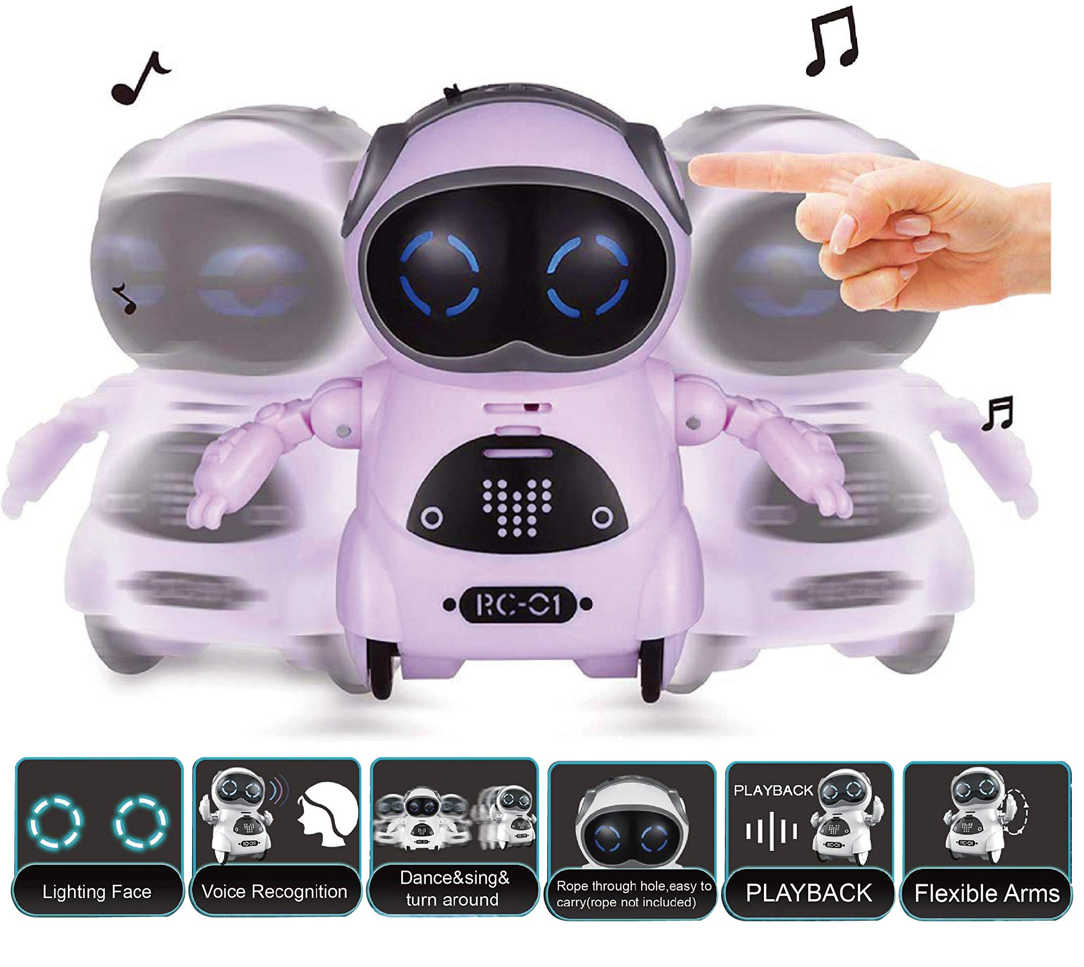 SPACE LION Educational Mini Pocket Robot for Kids Interactive Dialogue Conversation,Voice Control, Chat Record, Singing & Dancing-Pink by SPACE LION (Image #2)