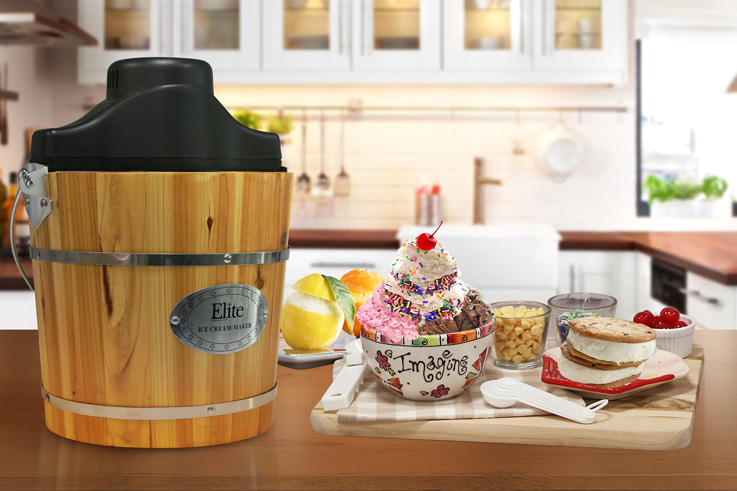 Elite Gourmet EIM-502 4 quart Old-Fashioned Ice Cream Maker with electric motor and hand crank, maple by Maxi-Matic (Image #8)