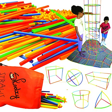 Skoolzy Straws And Connectors Building Kits 200 Pc Fine Motor Skills Interlocking Stem Toys Engineering