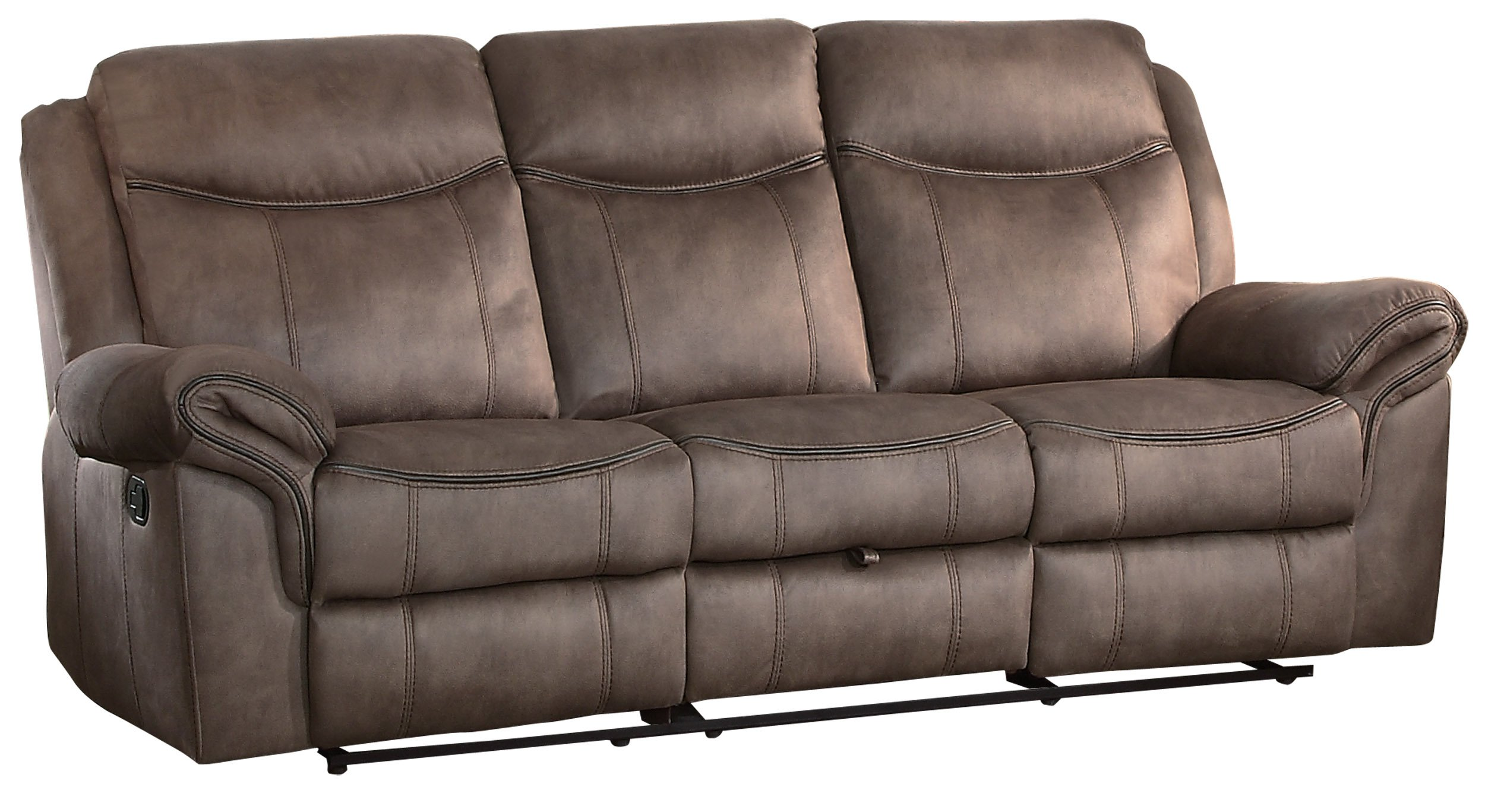 Homelegance Aram Double Recliner Sofa 100% Polyester Fabric Cover with Hidden Drawer, Brown