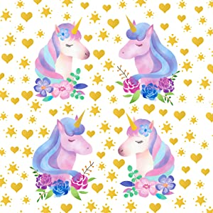 4 Sheets Unicorn Wall Stickers DIY Flowers Unicorn Wall Decals Removable Unicorn with Golden Heart and Stars Wall Decor for Kids Girls Bedroom Nursery Birthday Party Decoration