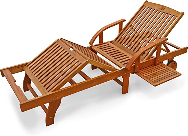 Gartenliege Holz Sonnenliege Liegestuhl Gartenmöbel Relaxliege rollbar klappbar