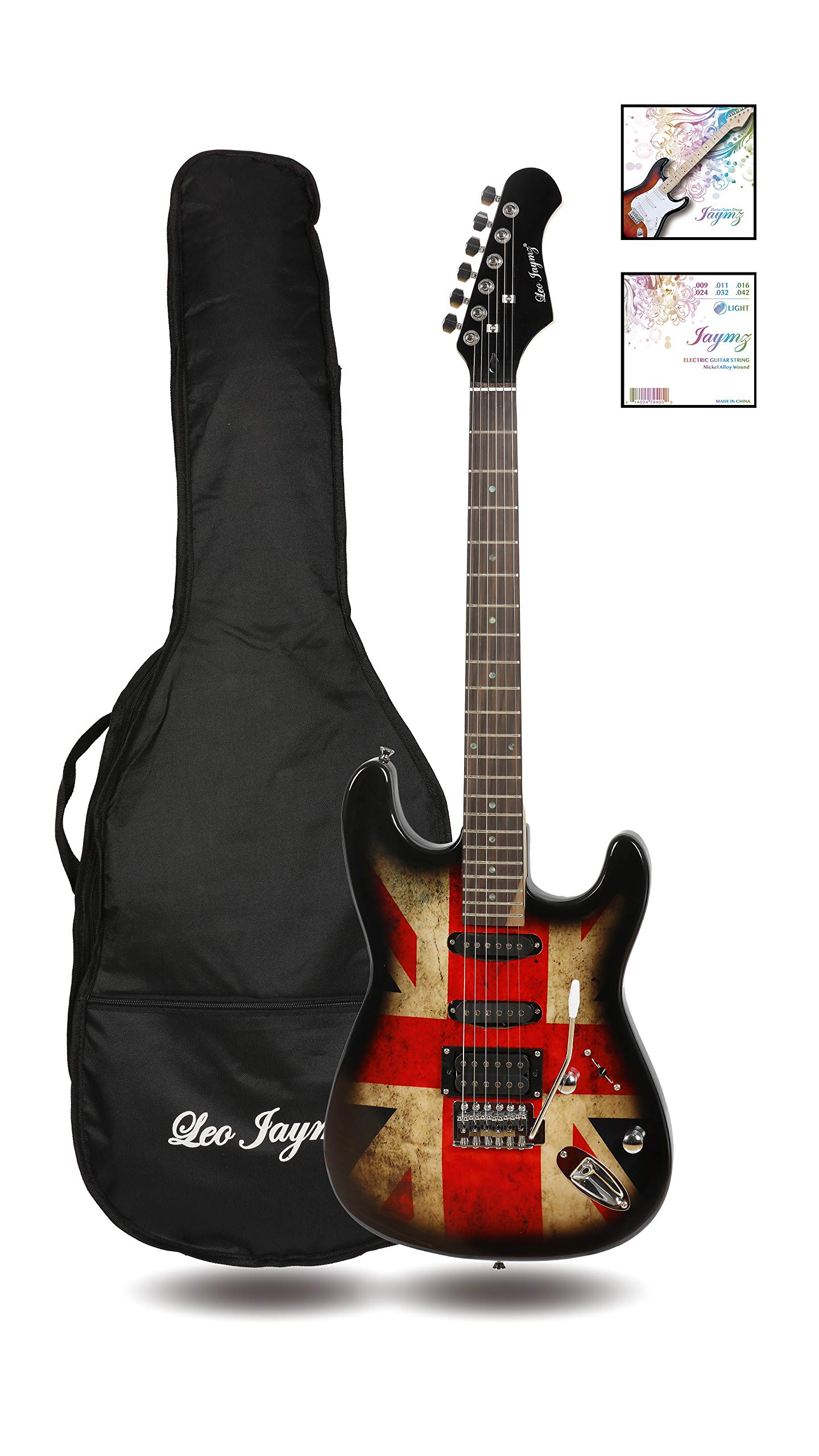 39'' Full Size ST Style Electric Guitar - with UK Flag Sticker Graphic Design - HSS Pickups with Super Light String for Beginners. by Leo Jaymz