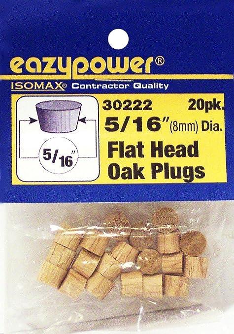 Eazypower 30222 5//16 Oak Flat Head Plugs 20 Piece