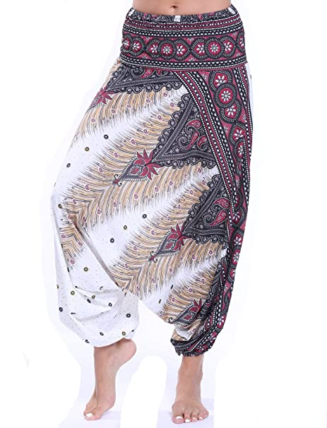 Amazon.com: CFR Pantalones Harem Boho Aladin holgados para ...
