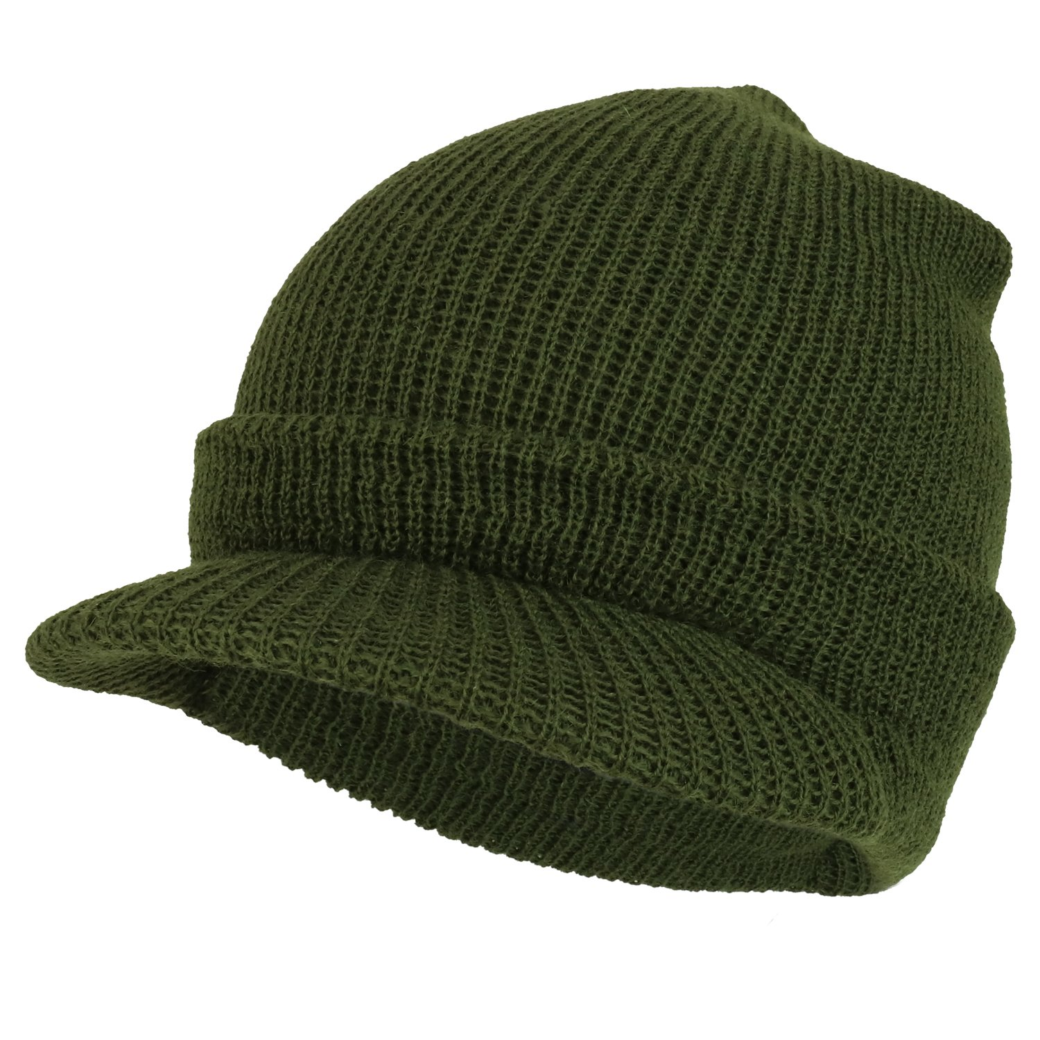 Amazon.com  Armycrew Made in USA Government Issue Wool Ribbed Visor Beanie  Jeep Cap - Black  Clothing 7b6eb5f0e03