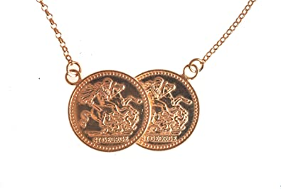 Sterling Silver Double Coin Necklace George & Dragon BBay3