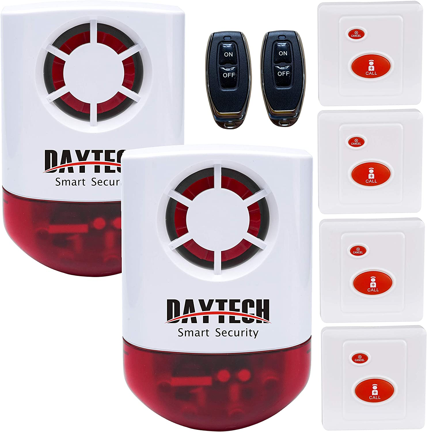 Daytech Wireless Strobe Siren Alarm Home Caring Loud Outdoor SOS Alert System 1 Red Flashing Siren,2 Remotes Panic Button, 4 Emergency Button for Store Home Hotel Jewelry Shop Security & Fire Alarm