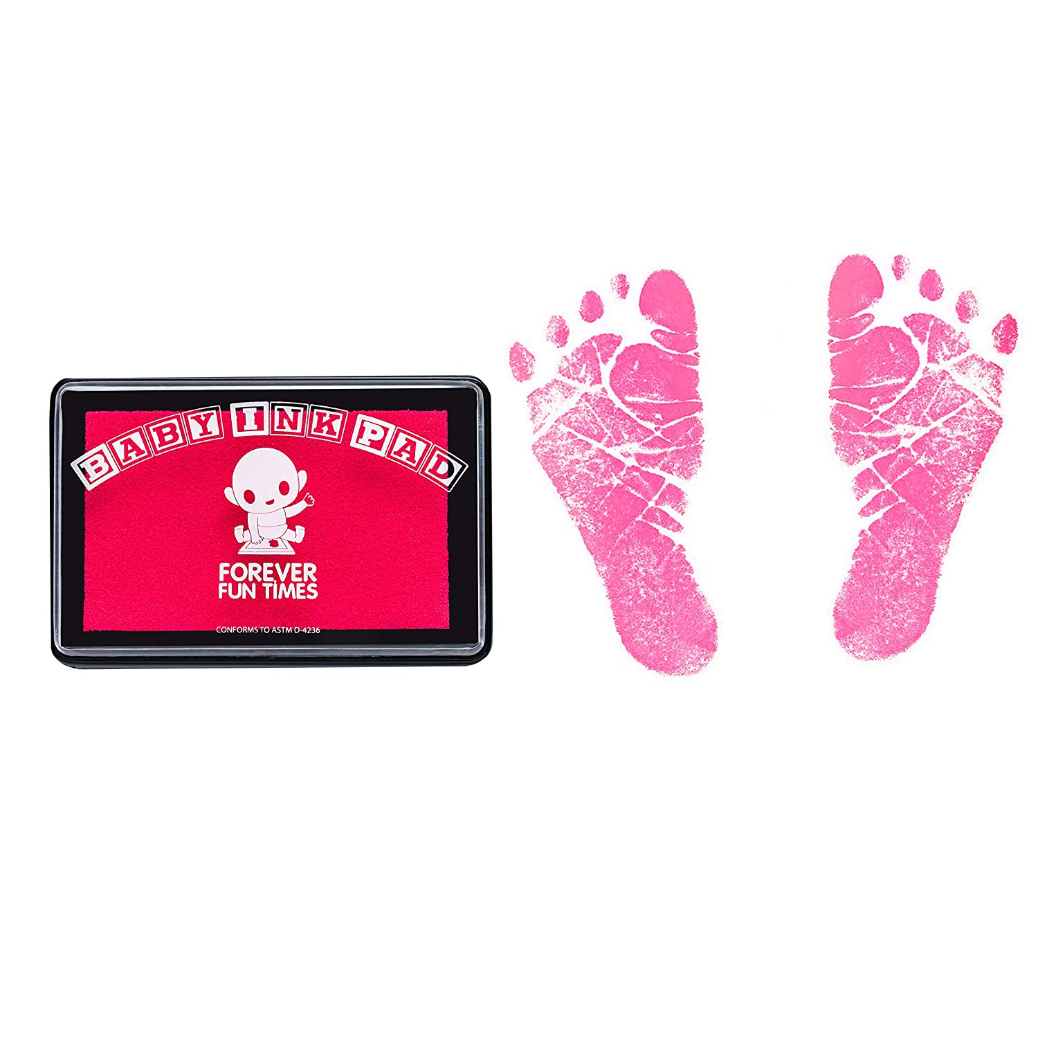 Baby Hand and Footprint Kit by Forever Fun Times | Get Hundreds of Detailed Prints with One Baby Safe Ink Pad Bundle (Black, Pink & Yellow) | Easy to Clean, and Works with Any Paper or Card | Clean and Safe
