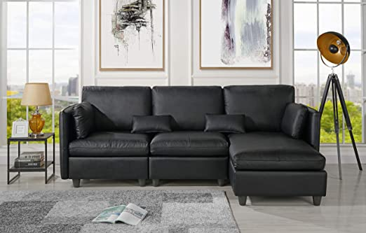 Amazon Com L Shape Living Room Leather Match Sectional Sofa Right Facing Chaise Lounge Black Furniture Decor