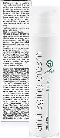 Nuvo' Crema Antiarrugas de Baba de Caracol Facial Hidratante y Antiedad - Orgánica Certificada AIAB - Maxi 75ml Acido Hialuronico Aceite de Argán 100% made in italy