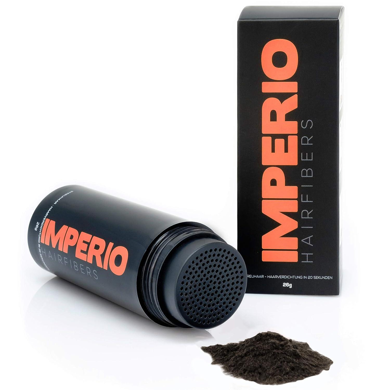 Fibras capilares Imperio – Para disimular la caída de cabello – Microfibras naturales de algodón resistentes – Castaño Oscuro