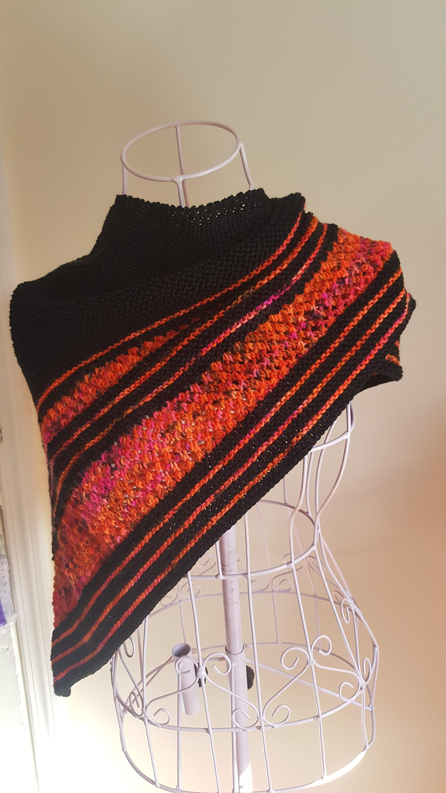 Hand Knit Cashmere, Merino Wool and Pima Cotton Shawl made from Hand Dyed Yarn - Fire Shawl Mothers Day Gift