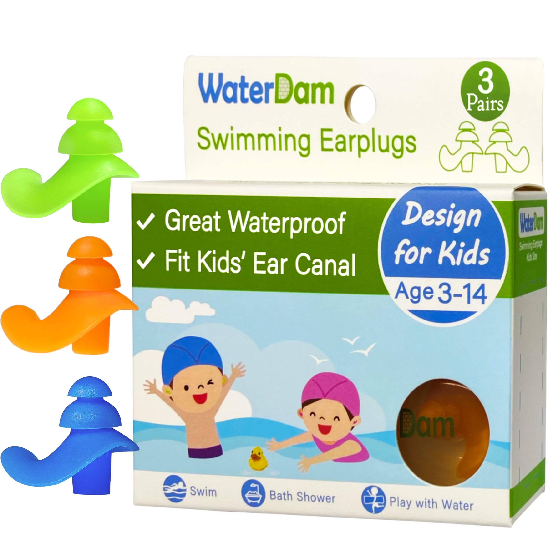 WaterDam Ear Plugs for Swimming Kids – 3 Pairs Soft Silicon Earplugs Reusable, Great Waterproof !!! Prevent Swimmer's Ear(Green, Orange, Blue)