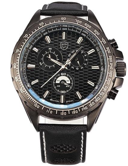 SHARK Reloj Hombre de Cuarzo, Correa de Cuero Negro SH193: Amazon.es: Relojes
