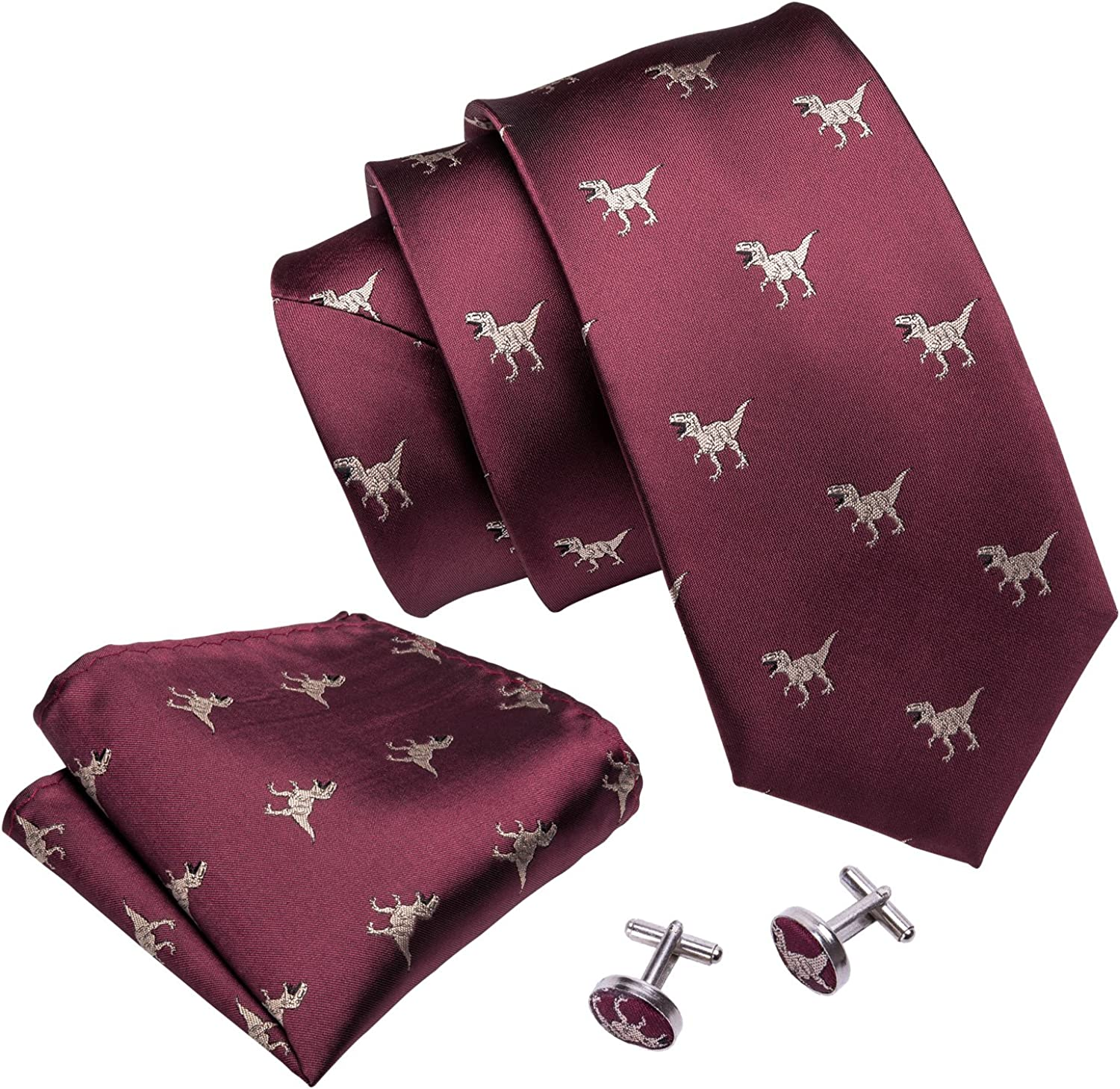 Barry.Wang Mens Ties Novelty Silk Tie Hanky Cufflinks Set Woven Designer