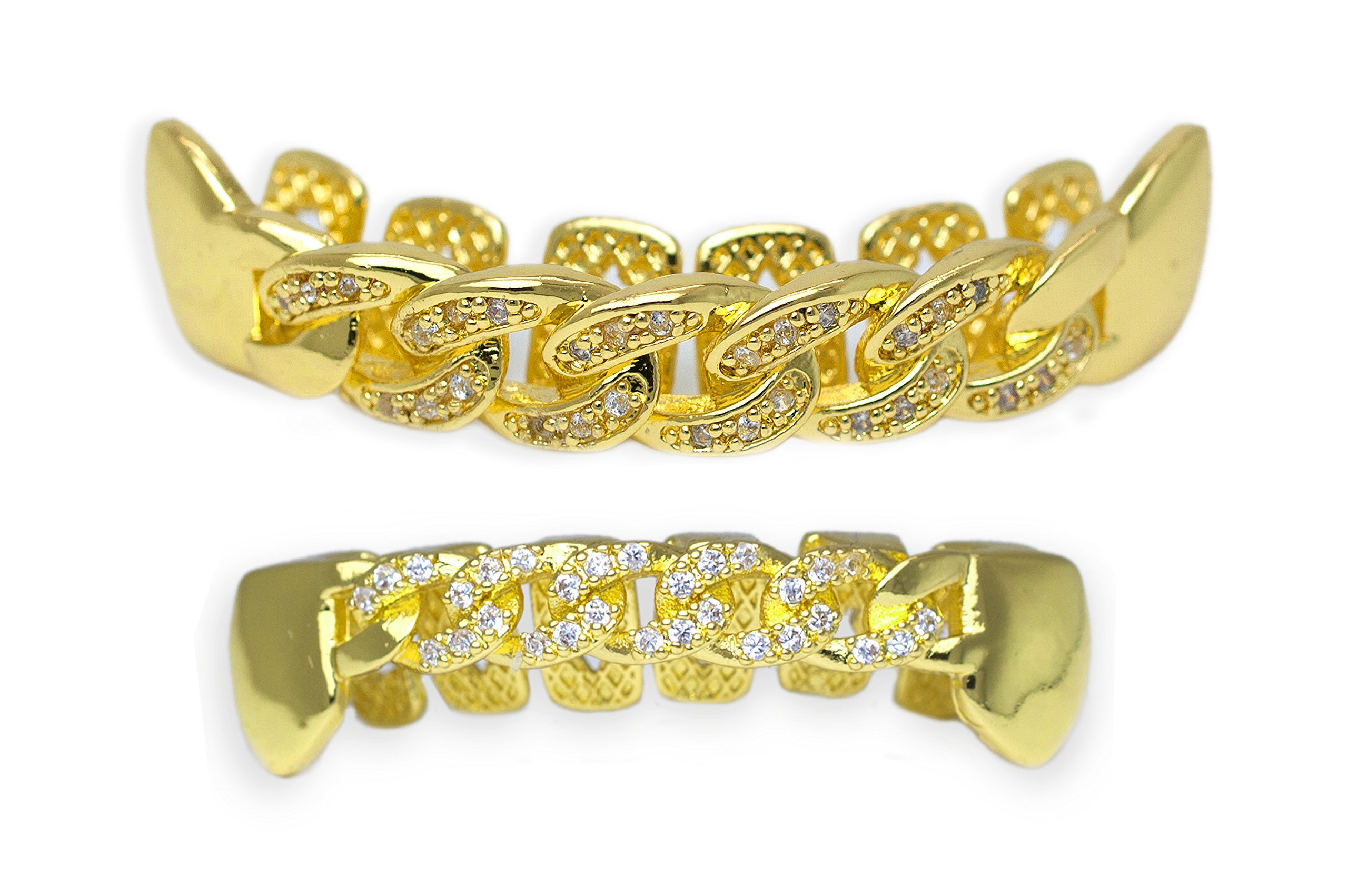 Yellow Gold-Tone Iced Out Hip Hop Bling Open Face Cubic Zirconia (CZ) Cuban Link Removable Grill Grillz Combo Set with Mold Bar by iRockBling