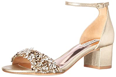 23419b093 Badgley Mischka Women's Vega II Heeled Sandal, Platino Metallic Suede, ...
