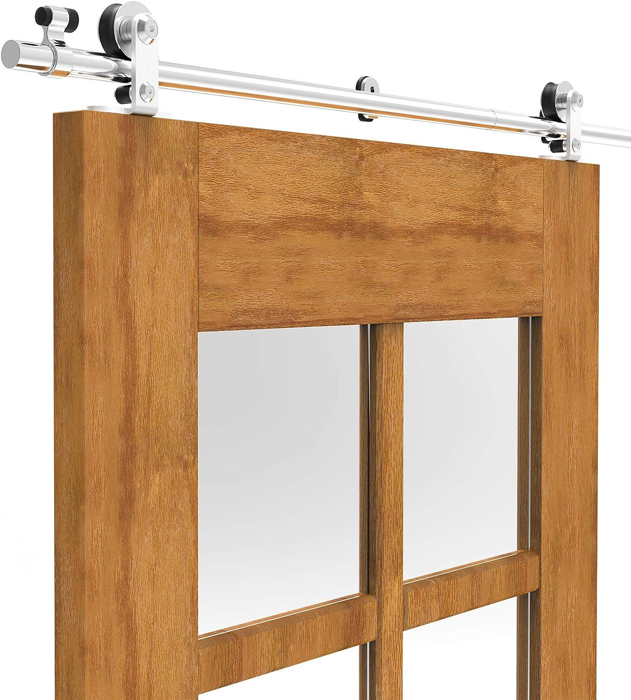4FT//121cm Stainless Steel Sliding Barn Wood Door Hardware Closet Track Roller Hanger Wheel Rail Set for Single Door