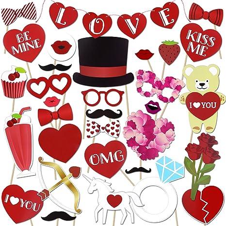 36pcs Photo Booth Props Accessori Occhiali da sole cappelli con Stick per matrimonio festa di compleanno NZvpu3cCe