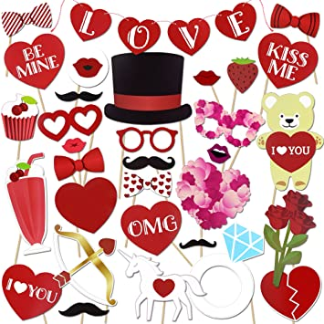 Konsait 36pcs Funny Valentines Photo Props Wedding Photo Booth With LOVE  Banner For Wedding Engagement Valentines