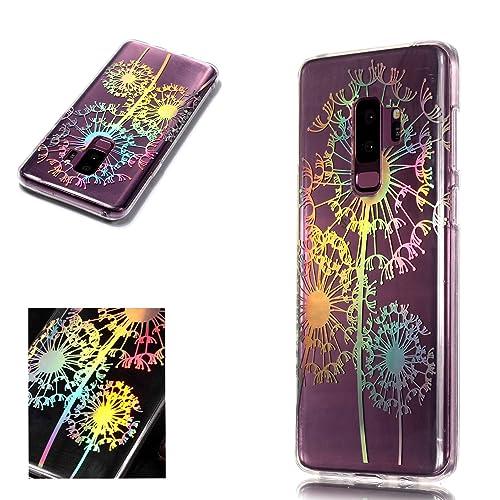 Leweiany Coque Samsung Galaxy S9 Plus,Samsung Galaxy S9 Plus Fantaisie Coque de Protection avec Absorption de Choc et Anti-Scratch Ultra Fine Slim-Fit TPU Silicone Gel Crystal Clear Transparente Coloré Laser Papillons