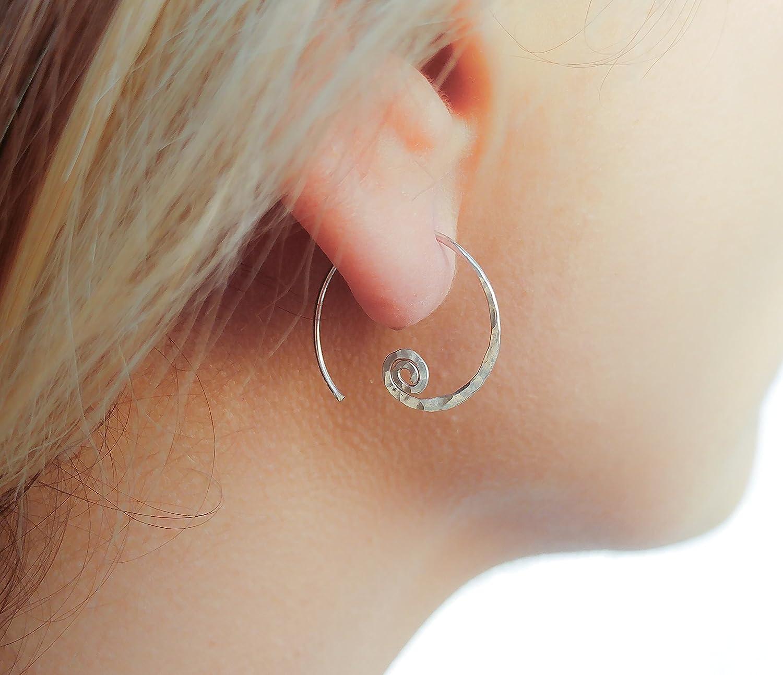 Open Hoop Sterling Silver Earrings Spiral Studs