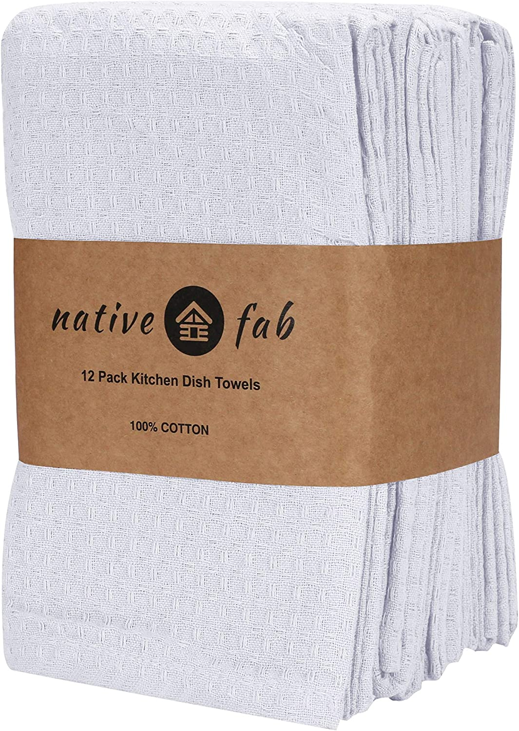 Soft Absorbent Durable Washable White Native Fab Tea Towels Set of 12 Dish Towels with Hanging Loop 100/% Cotton Kitchen Towels 40 x 66 cm