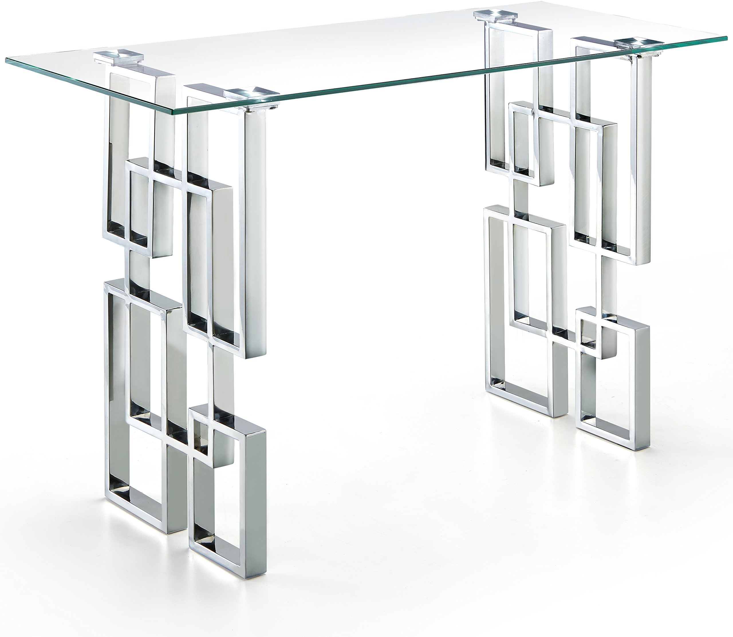 Meridian Furniture Alexis Collection Modern | Contemporary Glass Top Console Table with Stainless Steel base in Polished Chrome Finish, 48'' W x 14'' D x 30'' H, silver by Meridian Furniture