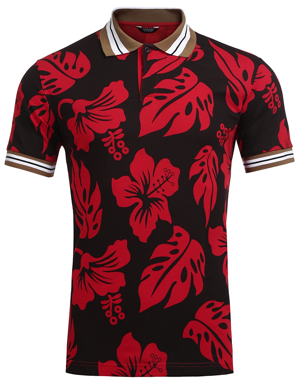 Coofandy Mens Collared Short Sleeves Floral Slim Fit Shirt ATY-1-01