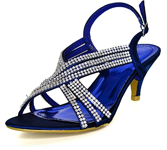 Ladies Navy Diamante Strappy Shoes Mid