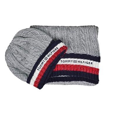 b2fd861f564 Tommy Hilfiger Coffret bonnet et écharpe gris laine et cachemire pour femme