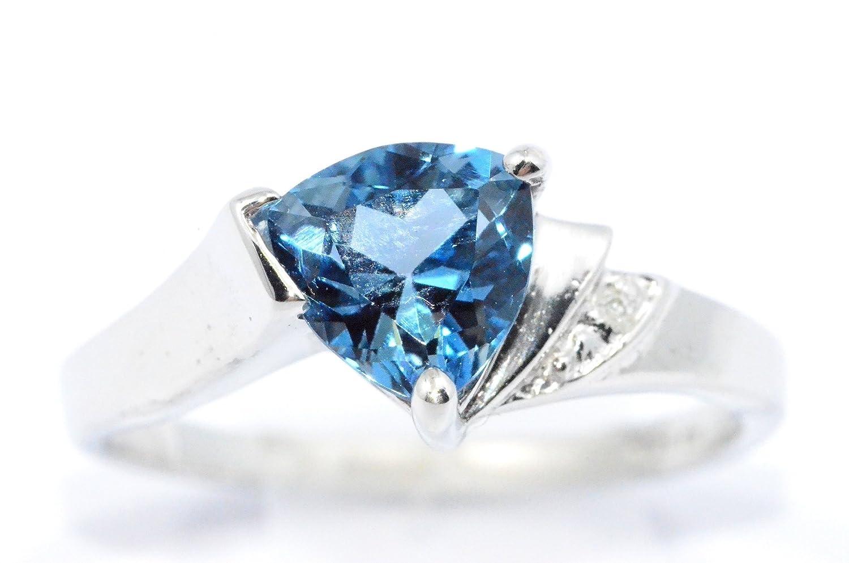 Elizabeth Jewelry Simulated London Blue Topaz /& Diamond Trillion Ring .925 Sterling Silver Rhodium Finish